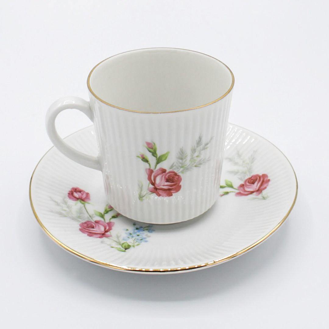 Cake Plate Porcelain Vintage Coffee Blanket Winterling Rose Flowers Cobalt Blue Gold Rim Cover Coffee Cup Saucer